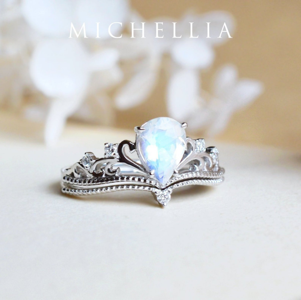 Veronica Moonstone Engagement Ring Vintage Pear Crown Ring