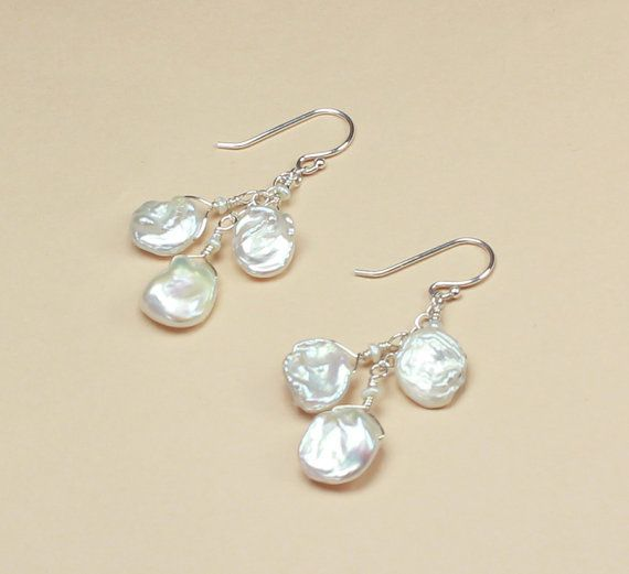 Keshi Pearl Earrings Beach Wedding Jewelry Beachy Bridal Bridesmaid