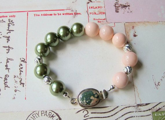 Shell Pearl Bracelet  Matte Finish Glass by JemsbyJBandCompany