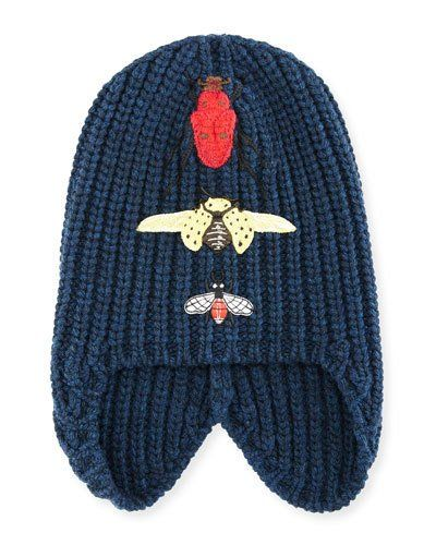 0ca9c77283d958 Gucci Cusco Knit Beanie Hat w/ Bug Appliques | Products | Knit ...