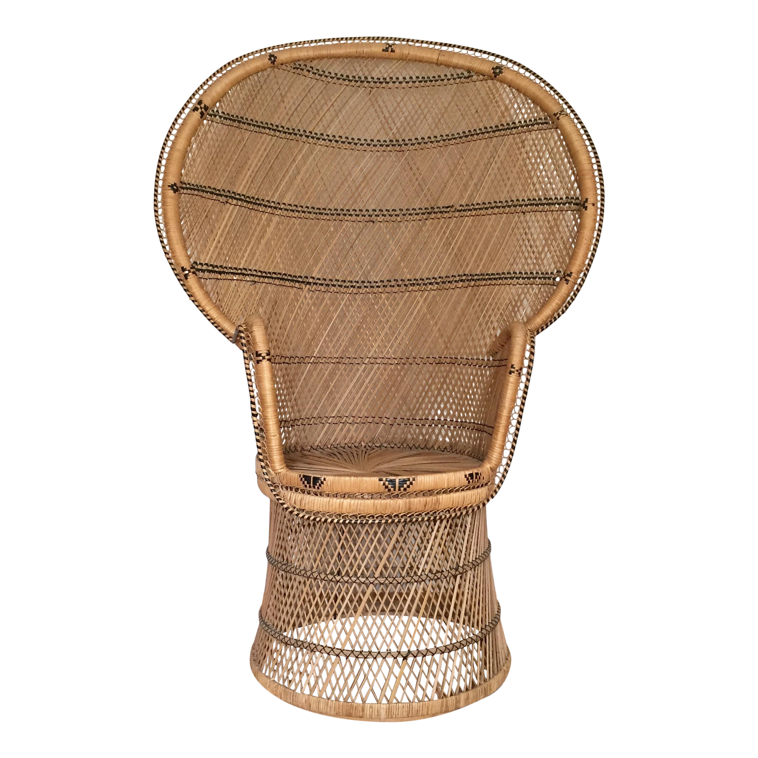 Rattan Wicker Peacock Chair with Black Accents on Chairish