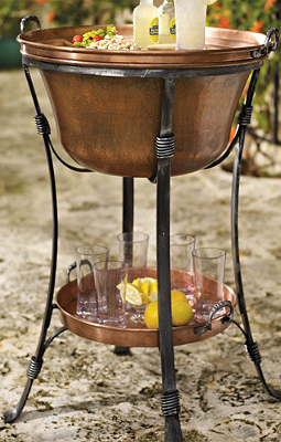 Copper Beverage Tub With Tray.