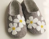 Photo of Items similar to Children's felted wool boots—–grey  color decorated with felted flowers, eco friendly on Etsy