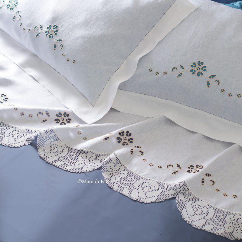 Lino disegnato e schema per fare il lenzuolo matrimoniale for Pizzi all uncinetto per lenzuola
