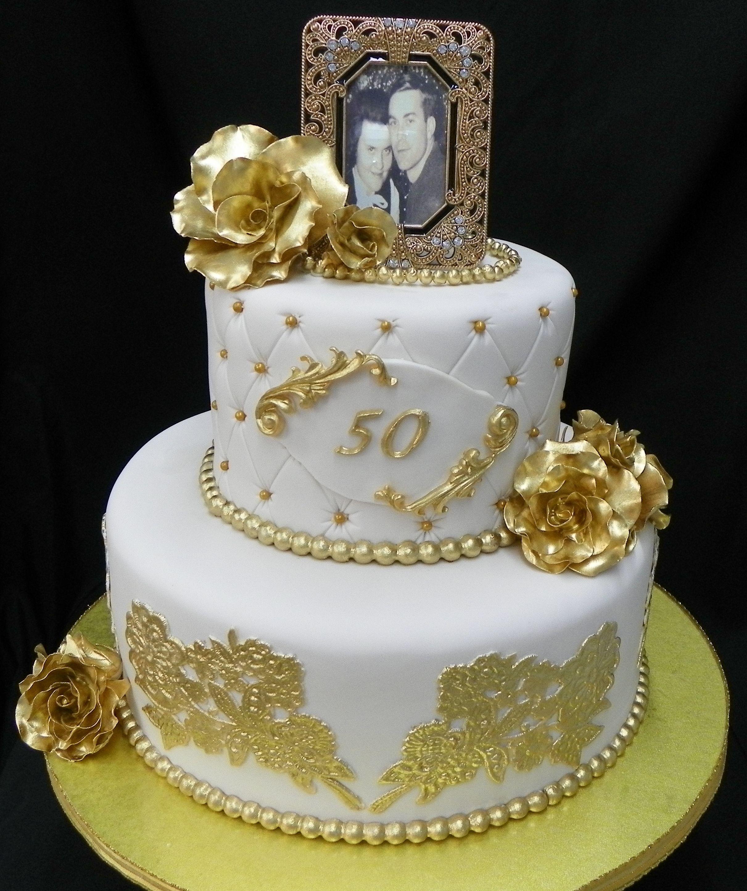 50th anniversary cake gold fondant cake 50th
