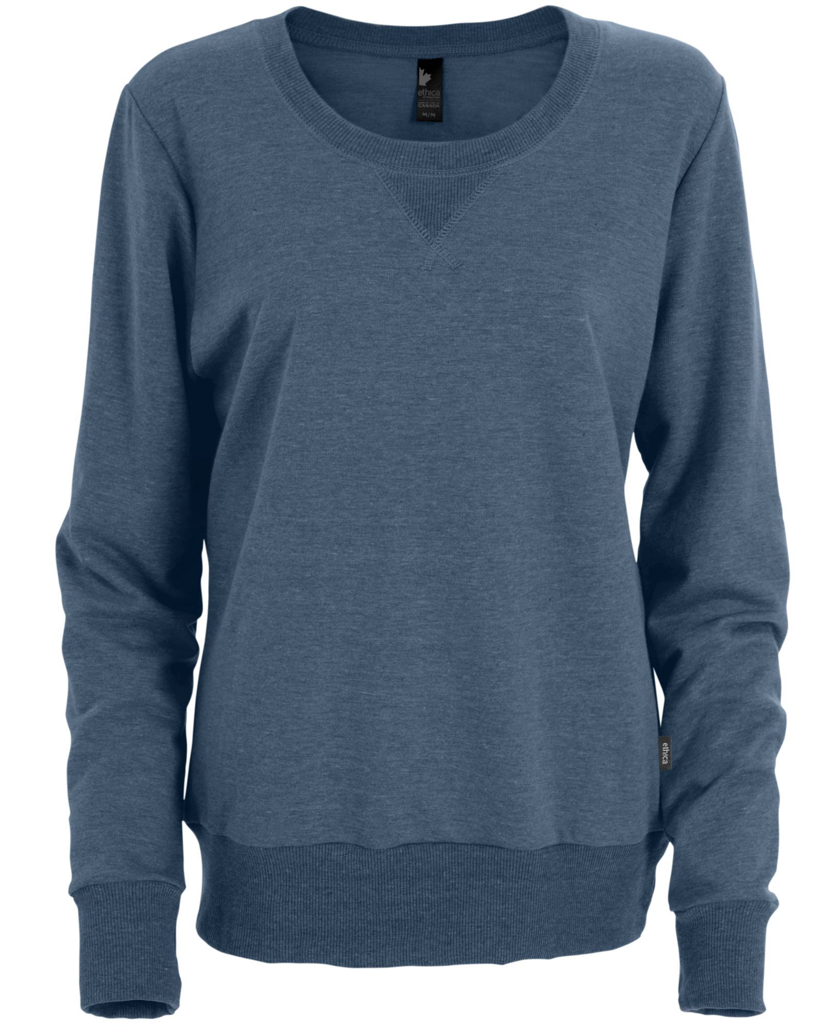 Ethica crew-neck sweater | French Terry | Heather navy | L1G Made in Canada