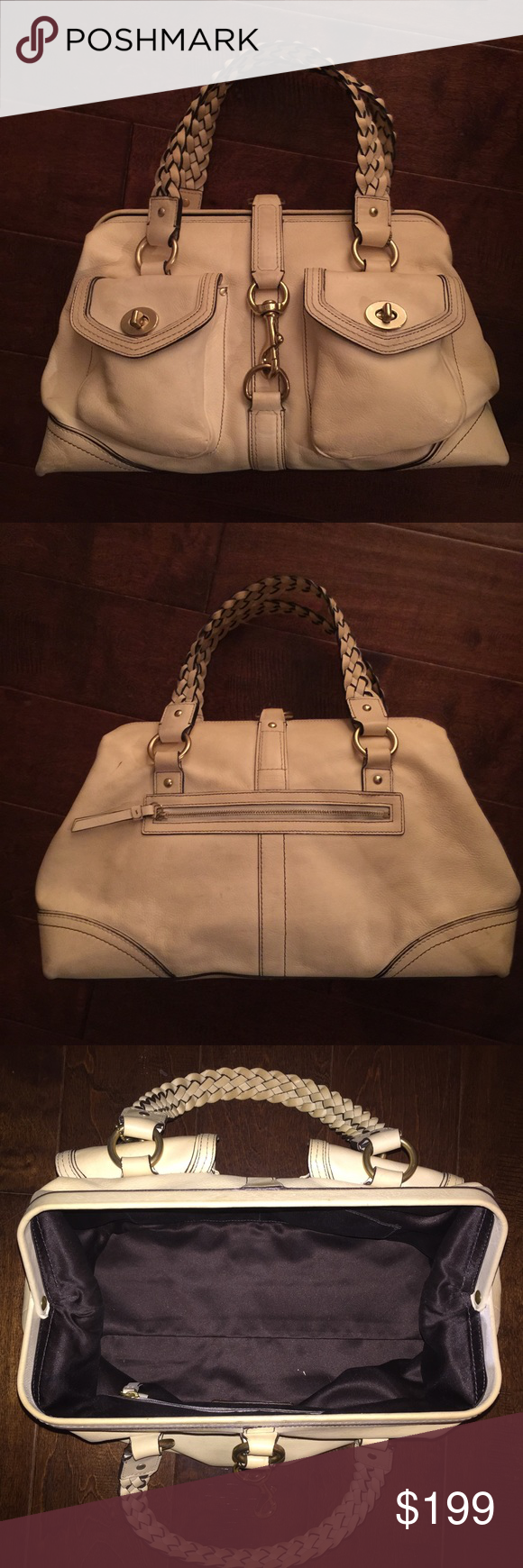 Coach Daphne Satchel in Ivory Vachetta Leather Vachetta Ivory Leather with Brass Coach hangtag. Doctor style opening with pull and dogleash closure. Brass hardware. 4 Brass feet at the bottom. Rear zippered compartment.  2 front pockets with turnlock closure Gorgeous braided leather handles Ivory top stitching. Gently used with signs of normal wear in leather, no tears. Noted small pen mark 0.5 cm on back of Purse. Coach Bags Satchels
