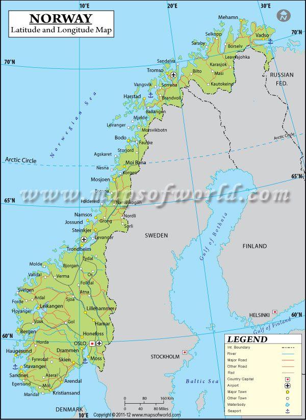 Norway Latitude And Longitude Map With Images Norway Latitude