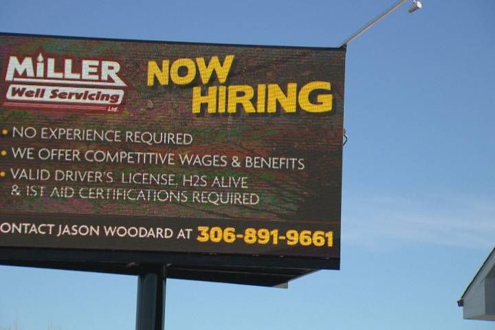 """Now hiring"" -- the words workers in the oil patch have been waiting to hear are flashing across billboards in Weyburn, Sask.  ""We're struggling finding employees, not even trained employees. We'll gladly train anyone,"" Abby Kradovill, Miller Well Services safety co-ordinator, said."