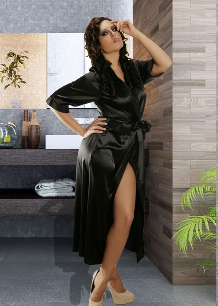 Luxurious Balck Satin Dressing Gown | Dressings, Satin and Robe