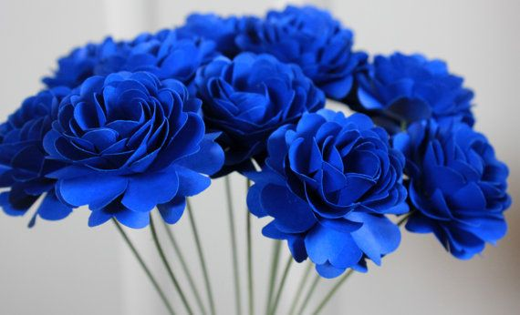Cobalt Blue Paper Dahlia Flowers   Made to Order Wedding   Bridal     Paper Flowers Handmade by BloomingBridges   33 00   may be where I save  some monies    They look so real