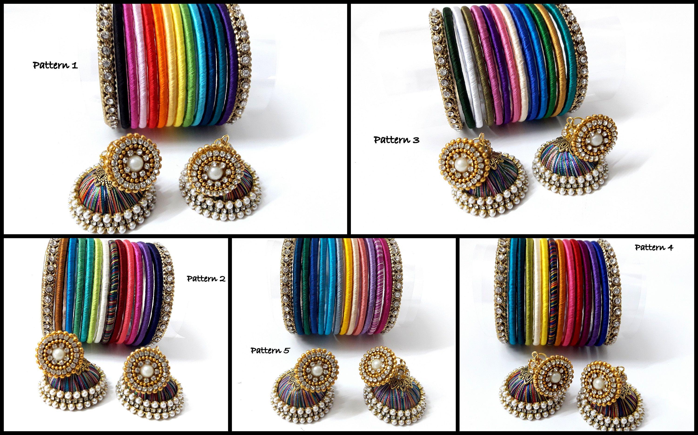Rainbow Silk Thread Bangles , Indian Handmade Jewelry , Baby Shower Return  Gift , Wedding Gift