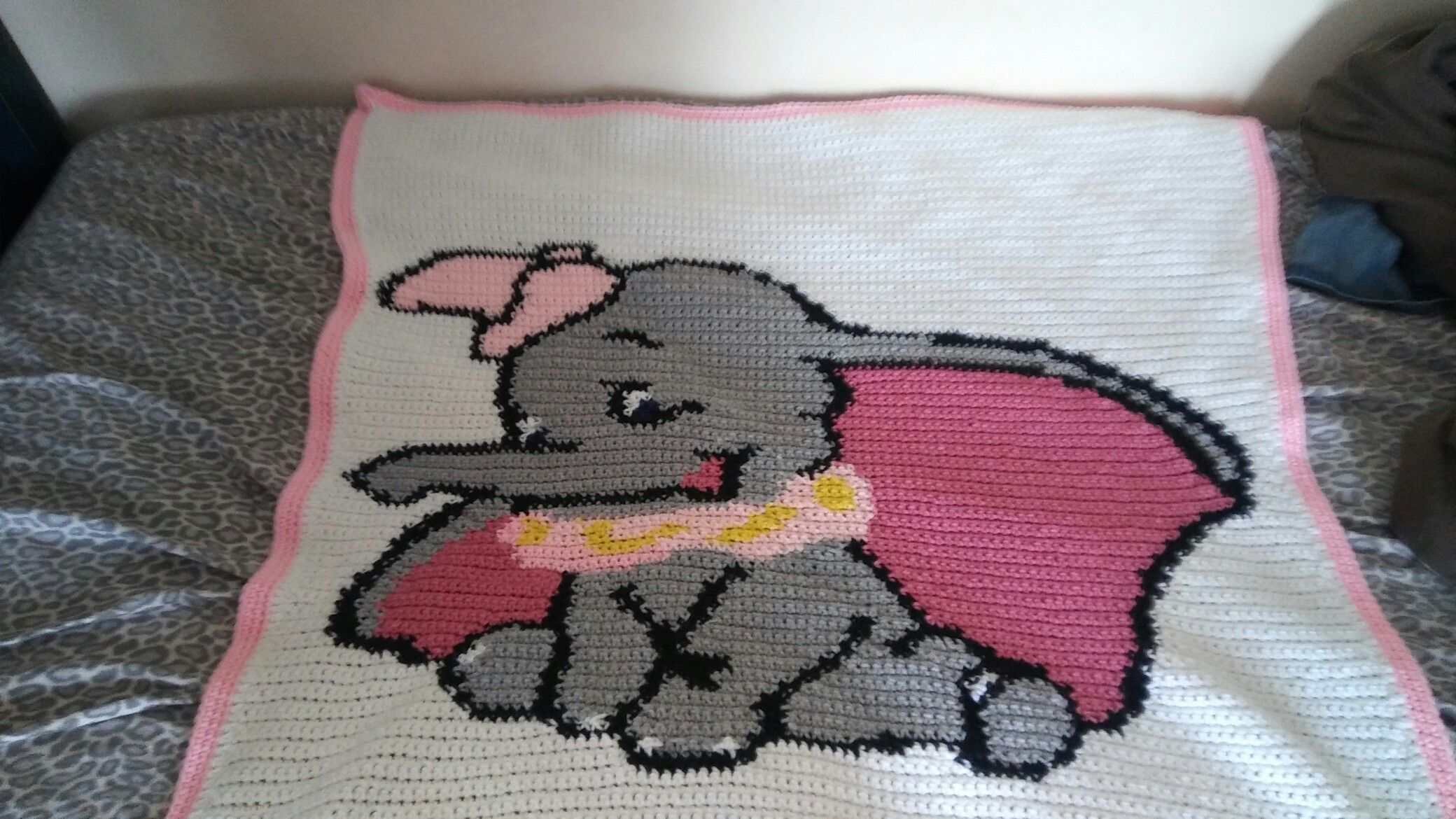 Baby Shower Gifts Crafts ~ Dumbo blanket i crocheted for a baby shower gift crafted by kikyo