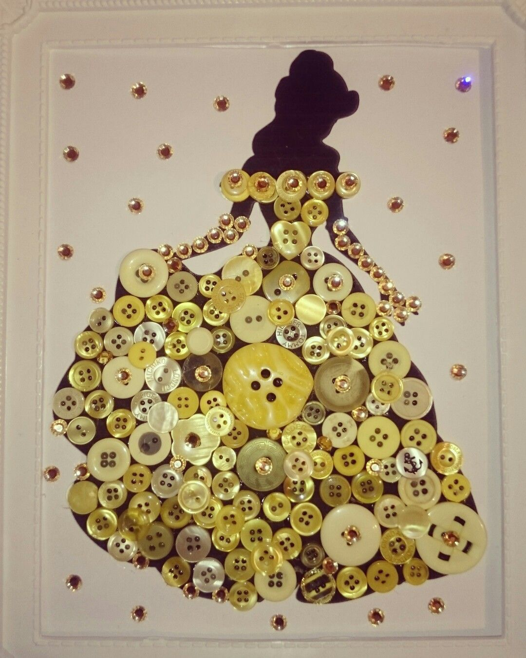 Disney Princess Belle button art framed silhouette with sparkles ...