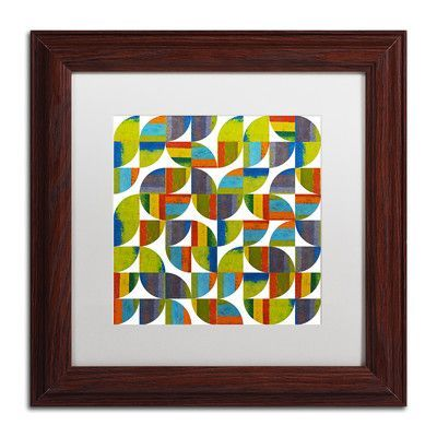 """Trademark Art """"Quarter Rounds 5.0"""" by Michelle Calkins Framed Painting Print Size: 11"""" H x 11"""" W x 0.5"""" D"""
