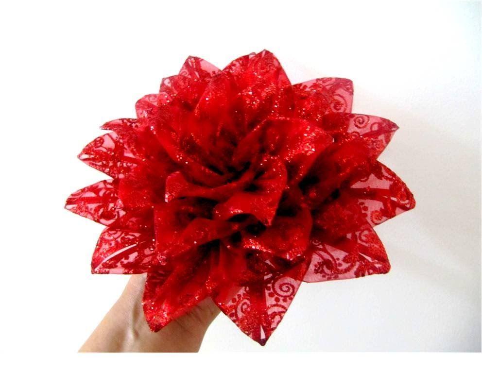 Mo os flores nochebuena de navidad en cintas de organza - Cinta de navidad ...