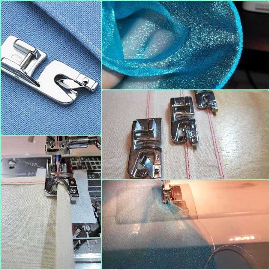El Pie de Dobladillo, se utiliza para hacer doblez en las orilla de las telas, este pie se usa en todas las máquinas de coser multipuntos de Janome, tanto en máquinas mecánicas, como en máquinas computarizadas. Las medidas son de 4 y 6 mm. También está el de 5mm.