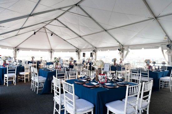 Red White And Blue Rooftop Wedding Reception 550x365 Washington Dc Rachael Joe