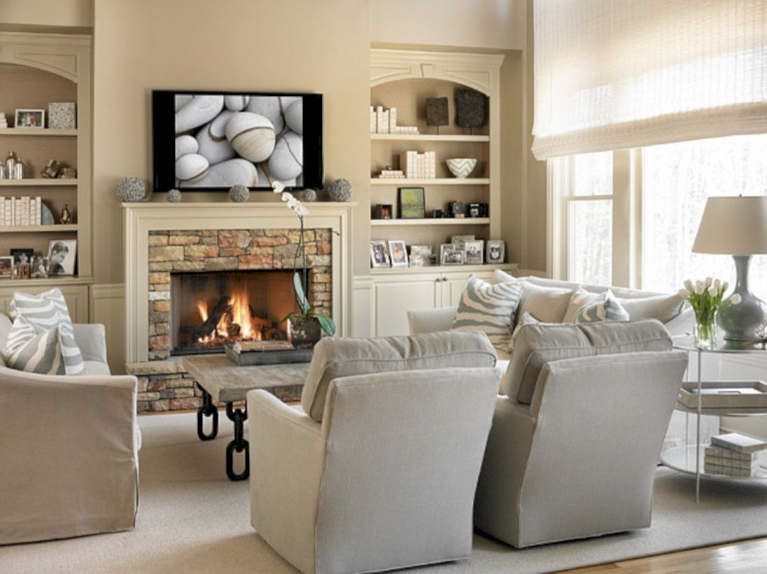 62 Adorable Living Room Layouts Ideas with Fireplace ...