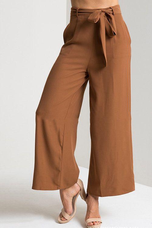 Brown pierna ancha pantalones cosechados con la correa - US 17.95 -YOINS 678182c8fce9
