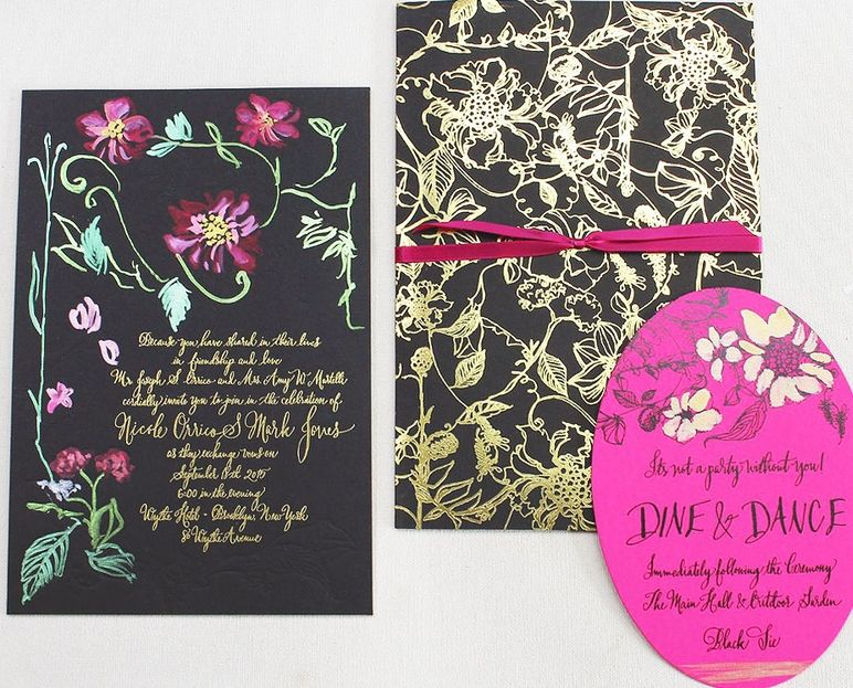 The Hot Pink Goes Pop Against This Black Cardstock Complete With