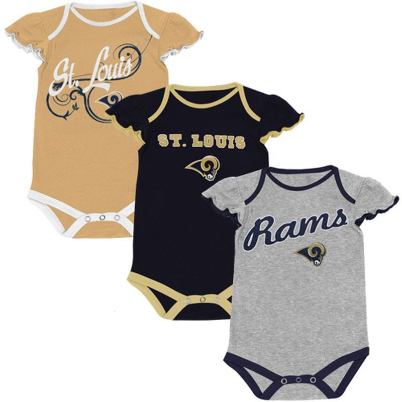3f39c677b479 Classic St. Louis Rams Infant Girls Scalloped Sleeve 3-Pack Creeper ...