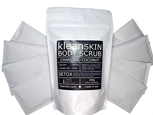 100% Natural Activated Charcoal Coconut Detox Body Scrub / 8 Single-Use Packets / Activated Charcoal to Purify, Smooth, Soothe / Help Heal Acne, Rosacea, Psoriasis, Eczema, Cellulite, Stretch Marks *** Read more reviews of the product by visiting the link on the image.