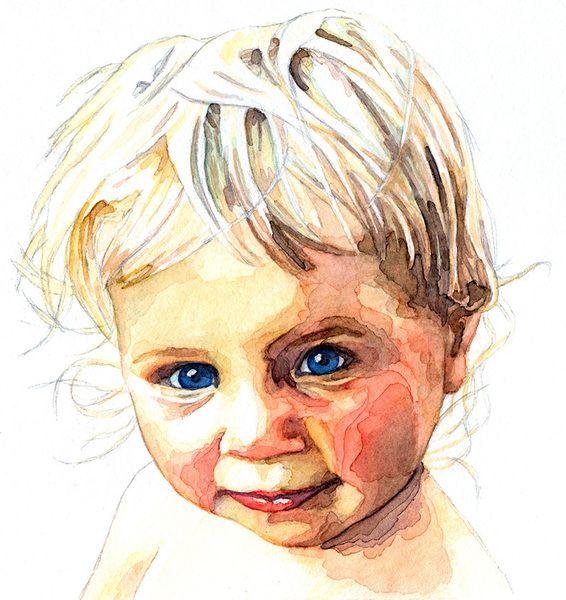 Aquarell Kinderportrait Nach Fotovorlage Aquarell Ein