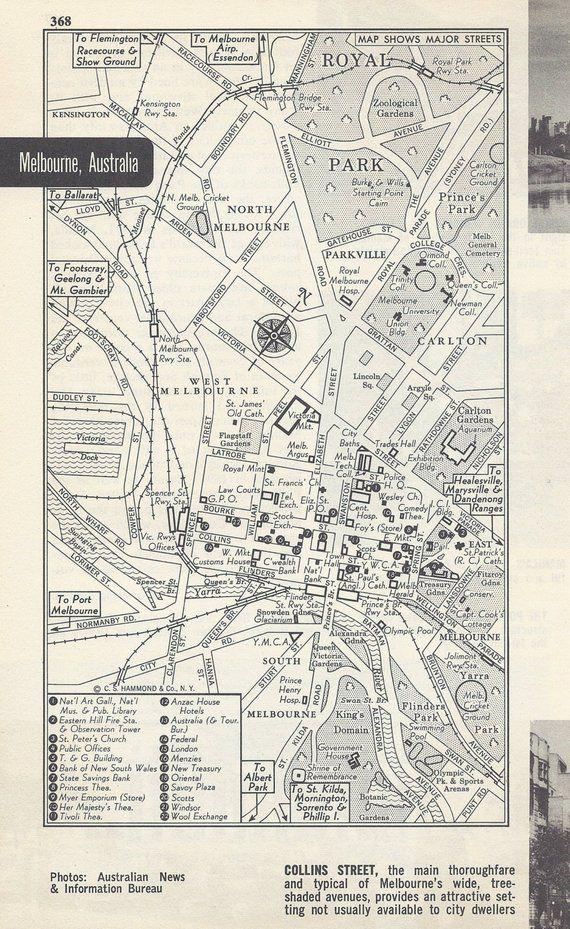 Australia Map Grid.Melbourne Australia Map City Map Street Map 1950s Black And