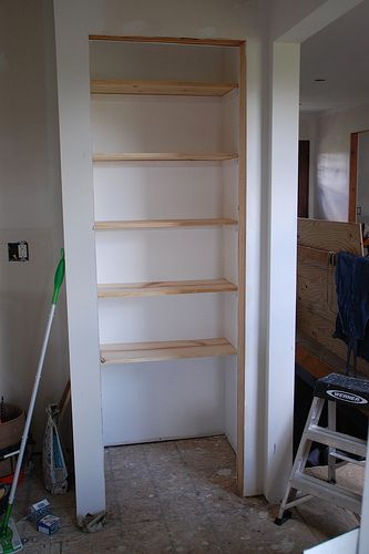 How To Build Pantry Shelves Building Basic Wood Shelves Kitchen Pantry  Makeover DIY Installing Wood Wrap Around Shelving DIY... Read More »