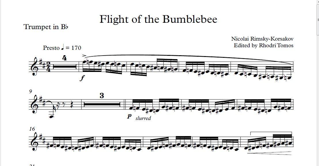 All Music Chords haydn trumpet concerto sheet music : Rimsky-Korsakov Flight of the Bumblebee Bb Trumpet solo sheet ...