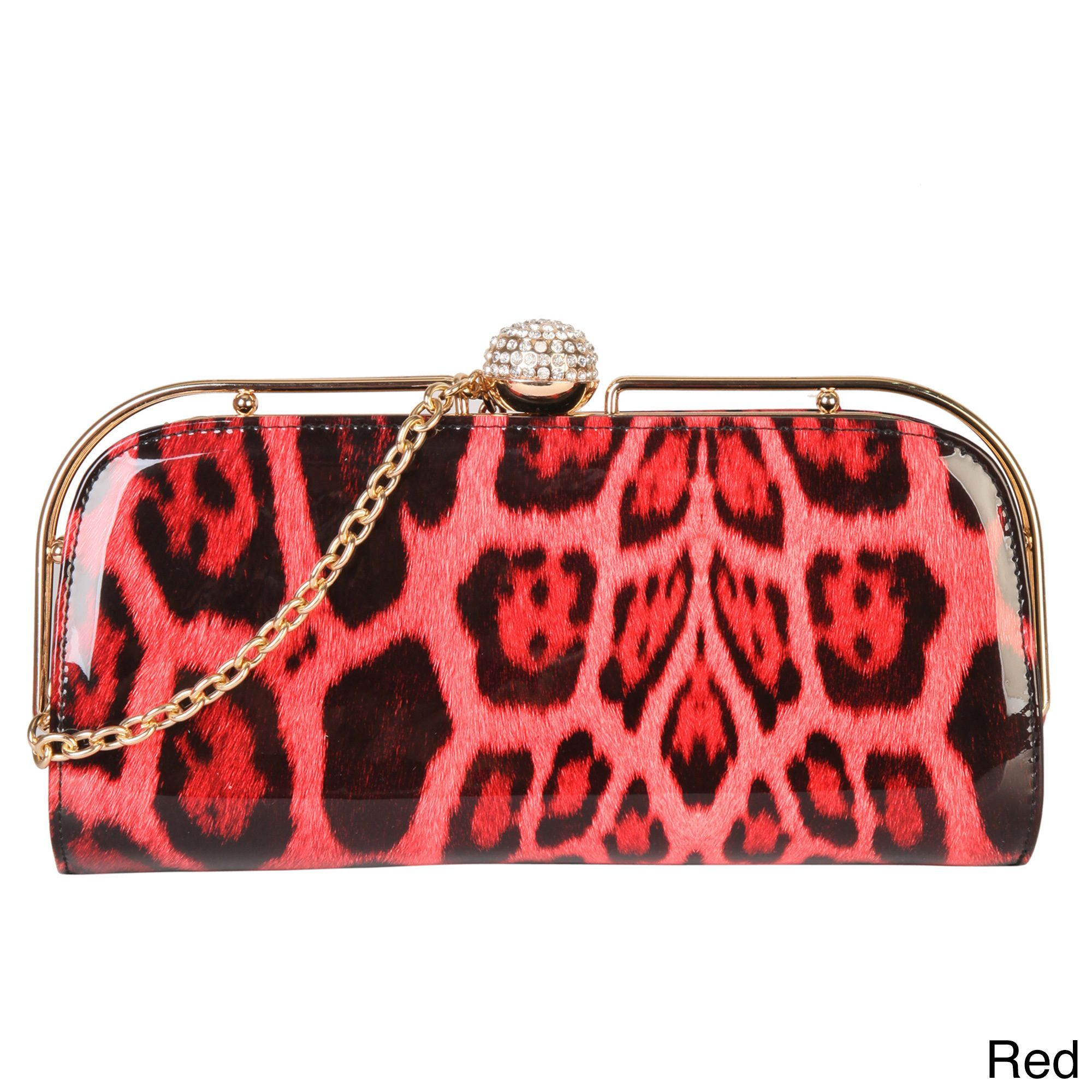 Rimen and Co. Luxury Patent Evening Clutch With Removable Metal Chain Strap