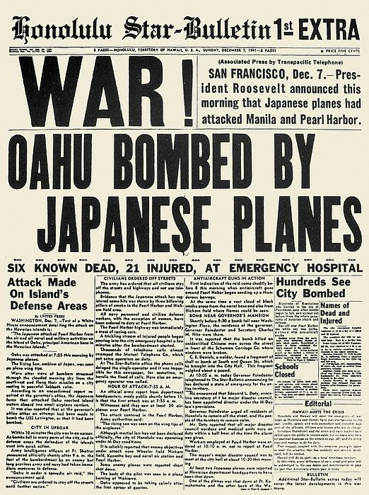 Image result for pearl harbor attack newspaper headlines