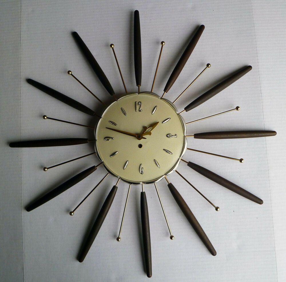 Vintage Lux 8 Day Starburst Wall Clock W Key Robert Shaw Mid Century 1963 Usa Lux Clock Mid Century Clock Wall Clock