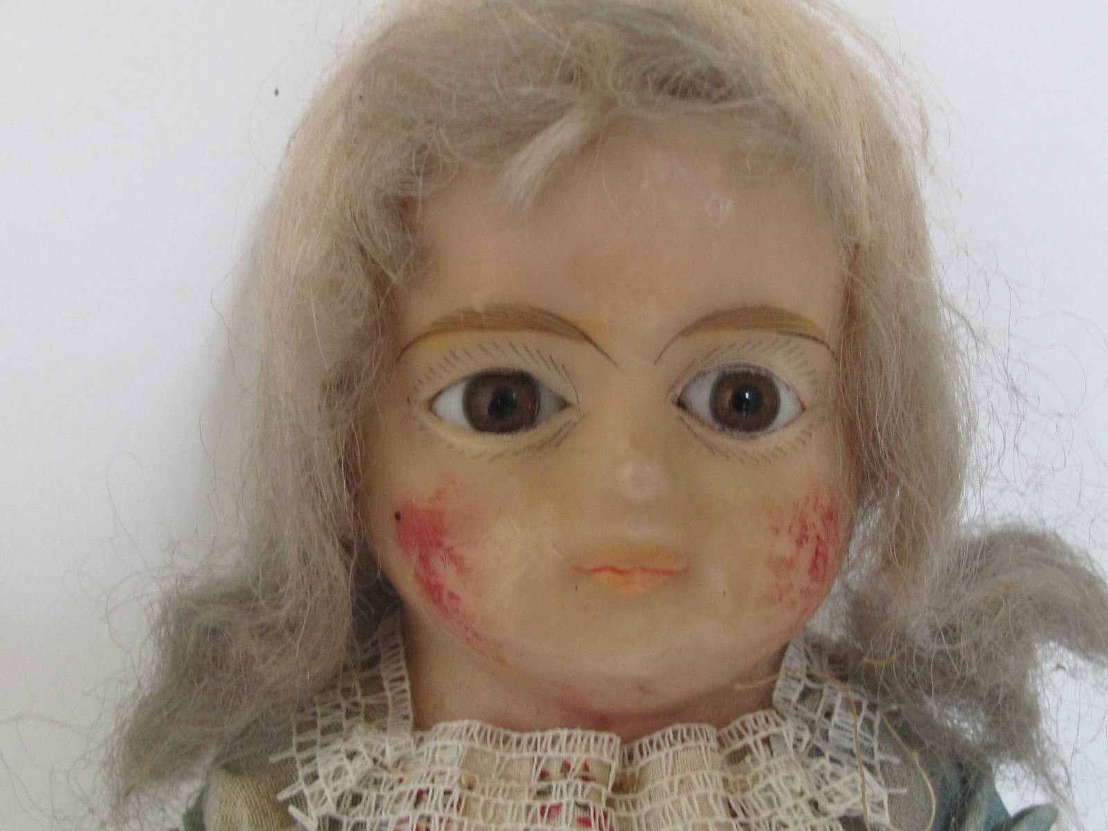 "Antique 16"" Doll Wax Over Composition Head Original Clothes 