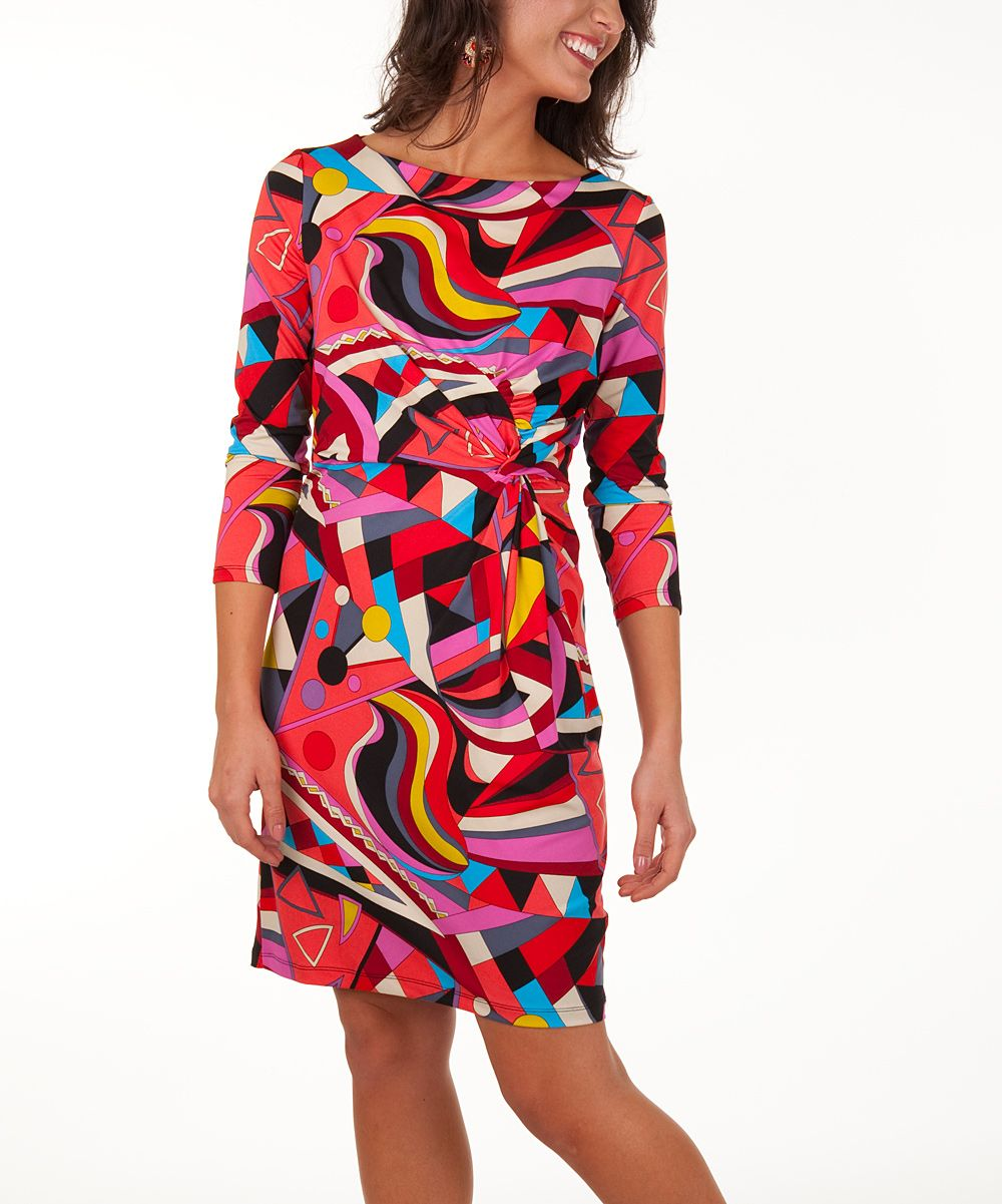 Red Geo Waves Marilyn Dress