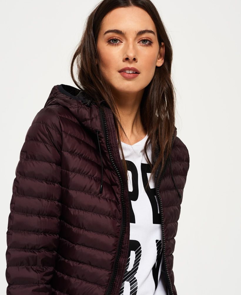 Womens Core Down Hooded Jacket in Deep Plum | Superdr