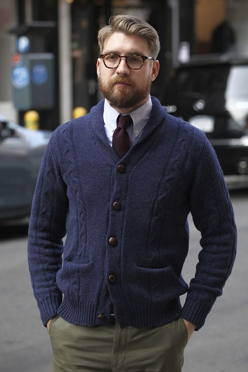 Men's Navy Shawl Cardigan, Blue Long Sleeve Shirt, Olive Chinos ...