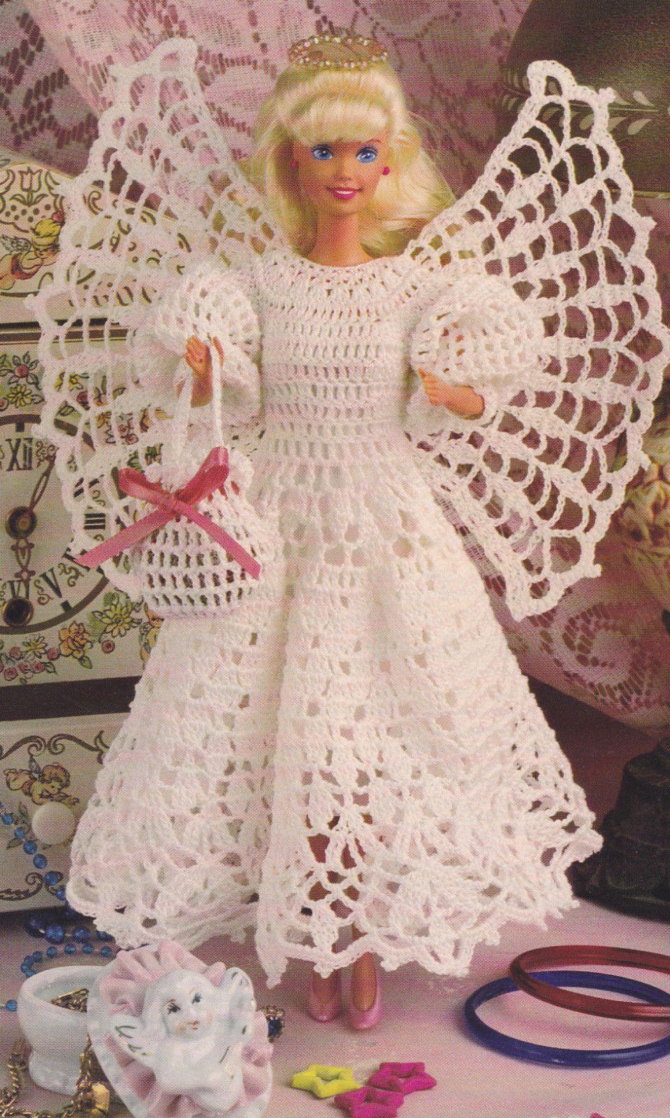 Wzór szydełka Fashion Doll Dress Outfit Anioł Boże Narodzenie ...