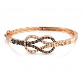 Bling Jewelry 3 Tone Rose Gold Plated Knot Amber Color CZ Bangle Bracelet