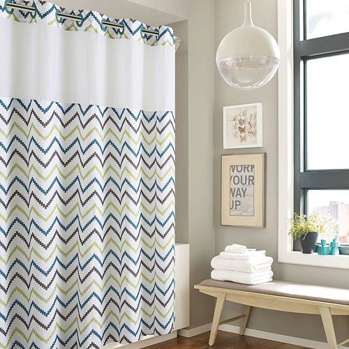 Hookless Tribal Chevron Shower Curtain With Liner Retirement