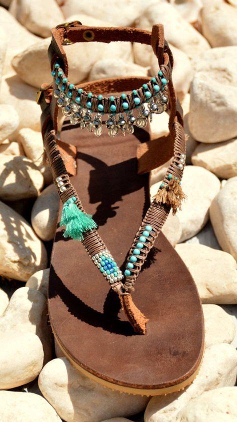 Leather Sandals, Boho Sandals, Bohemian Sandals, Women