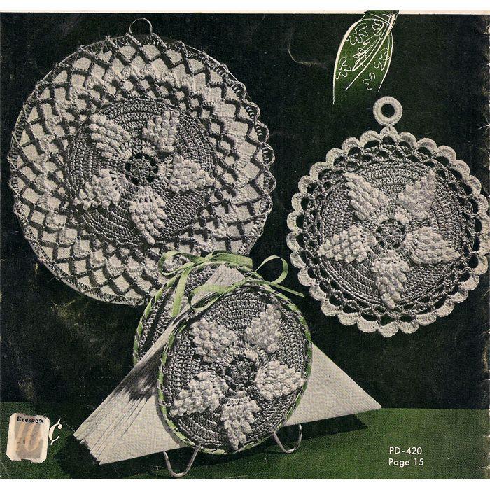 Round Crochet Pineapple Potholders Mat Pattern Pinterest