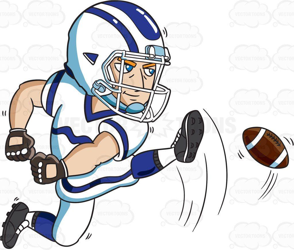 A Football Kicker Starting The Play Cartoon Clipart Vector