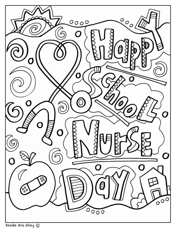School Nurse Day Coloring Pages and Printables. Perfect