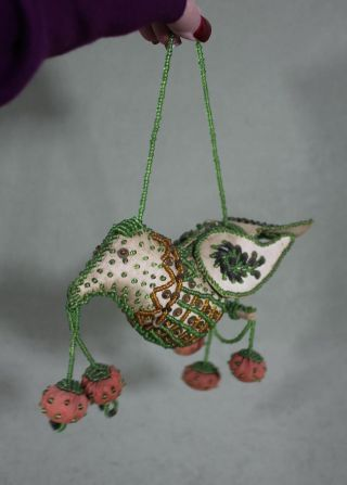 Large Antique 1907 Iroquois Indian Folk Art Beaded Bird Strawberries Pin Cushion