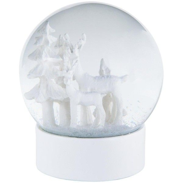 Gisela Graham White Reindeer Snow Dome Christmas Decoration (215 SEK) ❤ liked on Polyvore featuring home, home decor, holiday decorations, christmas globe, white globe, holiday reindeer decorations, snow dome and christmas water globes
