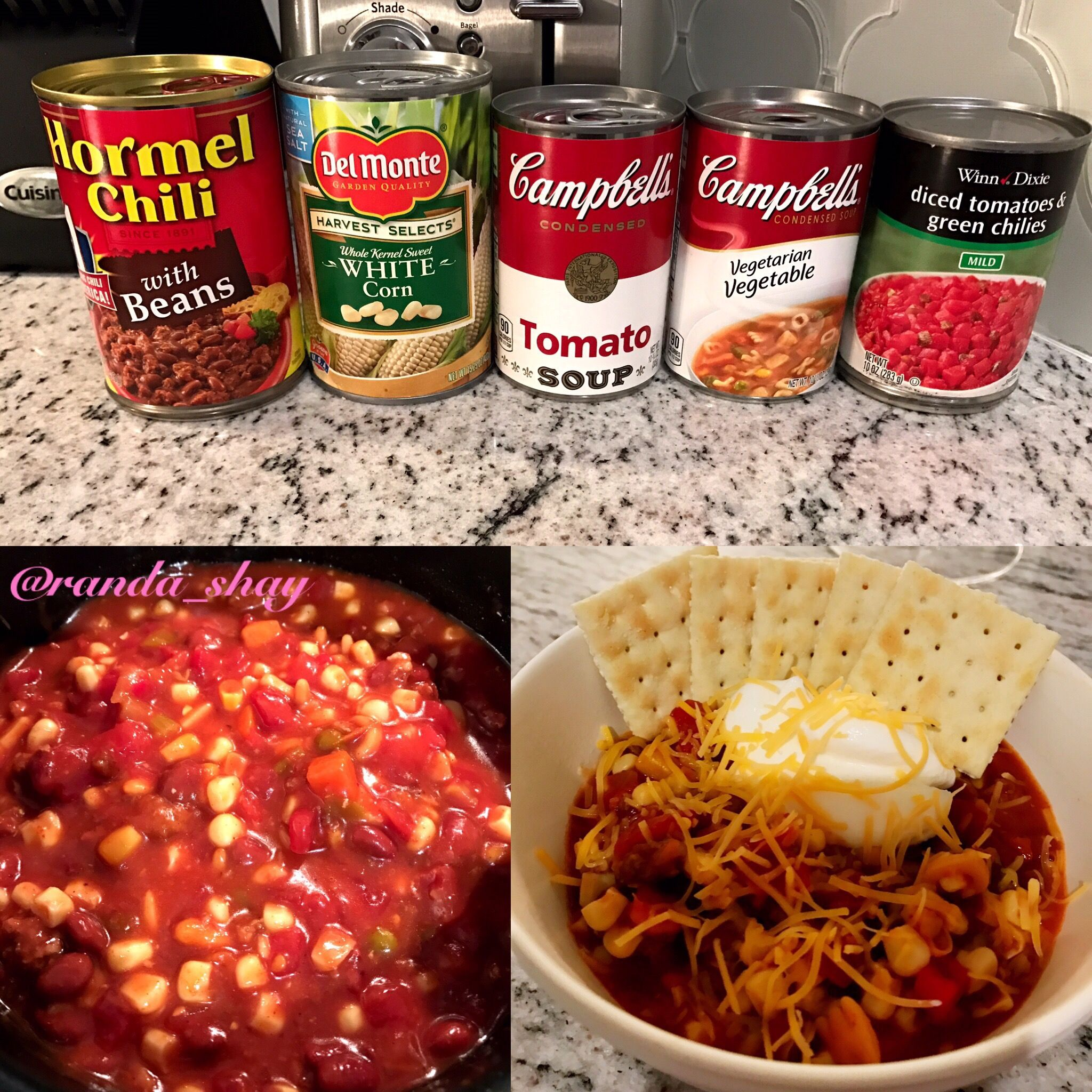 5 Can Soup Hormel Chili W Beans Whole Kernel Sweet White Corn Tomato Soup Vegetable Soup You Can Use W Or W Hormel Recipes Chili Dinner Can Soup Recipe
