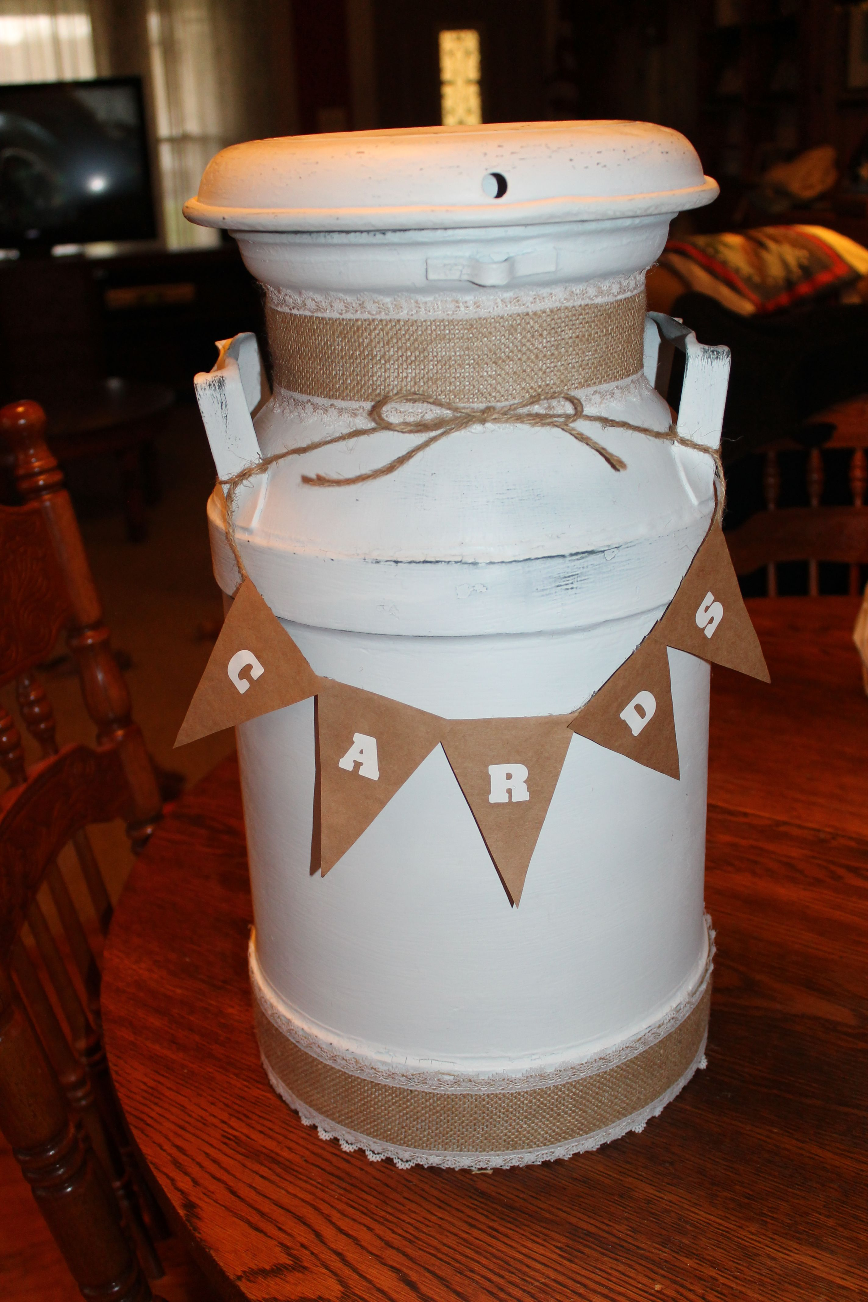 dairy milk can made into a card holder for country shabby wedding