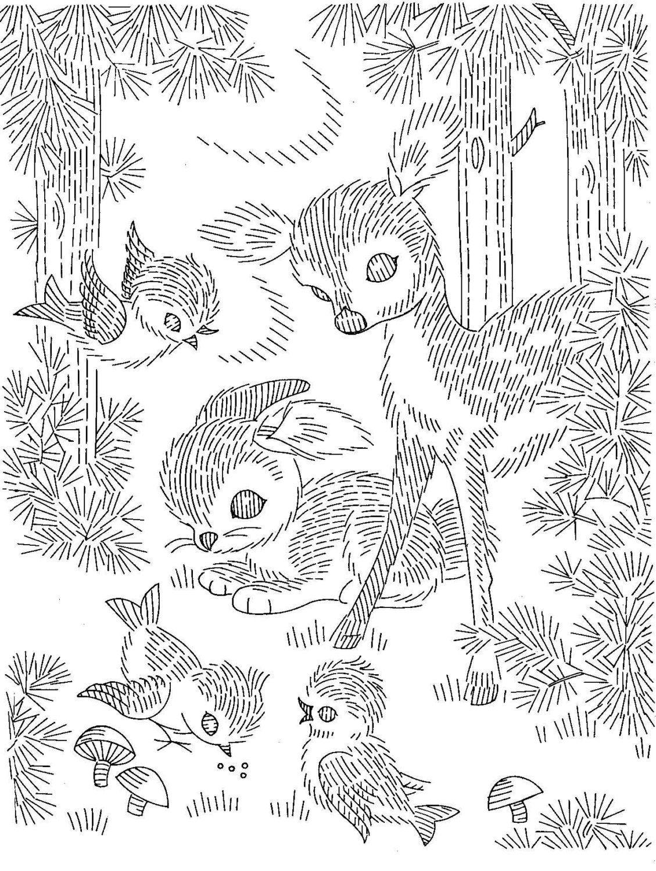 Digital Hand Embroidery PATTERN PDF File 7027 Deer Bunny